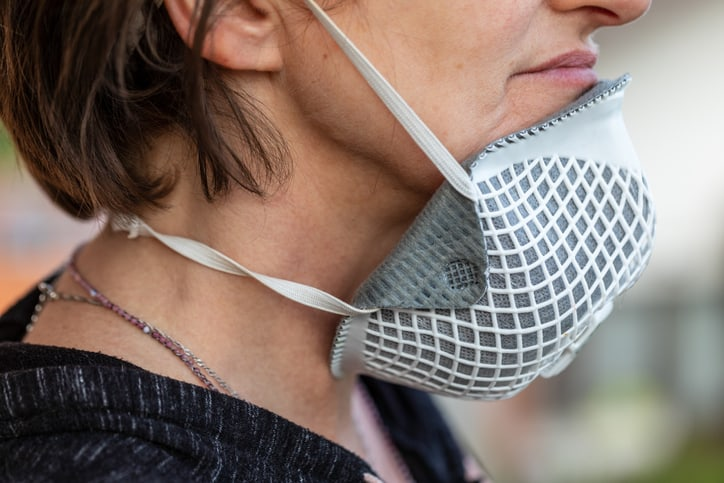 Woman with face mask pulled down during the covid-19 pandemic