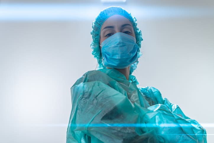 Coronavirus frontline nurse in facemask and PPE